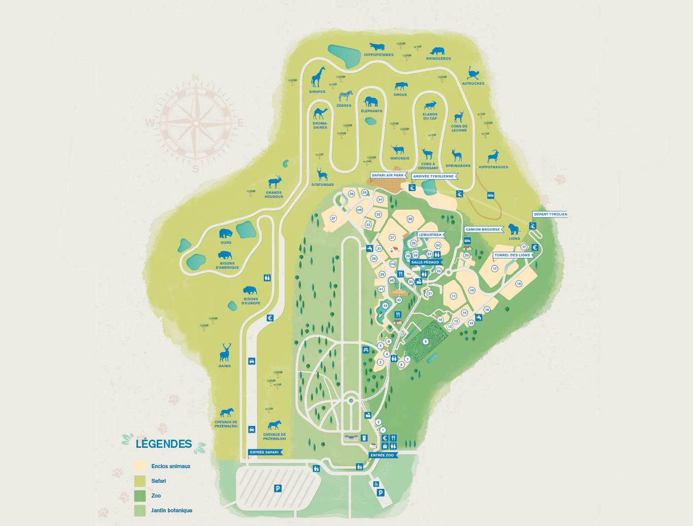 Plan zoo thoiry